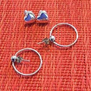 Jewelry - Two pairs silver earrings. Like new.